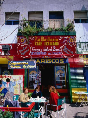 People Sitting Outside Cafe in La Boca, Buenos Aires, Argentina Photographic Print