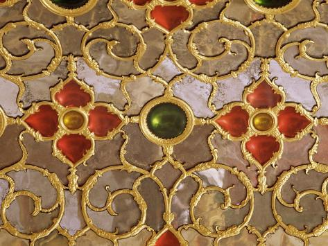 Detail of the Coloured Glass and Mirror Work in the Audience Chamber in the Palace, Jaipur, India Photographic Print