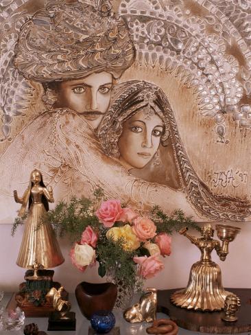 Painting by Jaya Rastogi Wheaton, in Artist's House in Jaipur, Rajasthan State, India Photographic Print