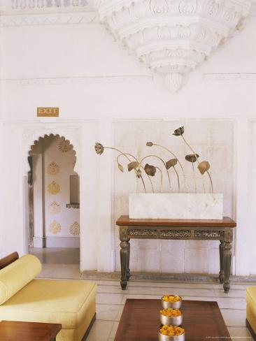 Public Seating Area in the Grand Durbar Hall, Devi Garh Fort Palace Hotel, Near Udaipur, India Photographic Print