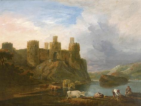 A View of Conway Castle with Fishermen Mending their Nets Giclee Print
