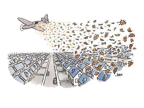 Autumn's leaves falling from airplane onto suburbs - Cartoon Premium Giclee Print
