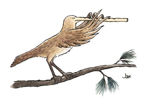 bird's extended, flute-like beak is played as an instrument - Cartoon Premium Giclee Print