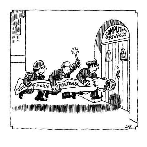 militarist, cleric, and policeman batter on front door of Computer Privacy… - Cartoon Premium Giclee Print