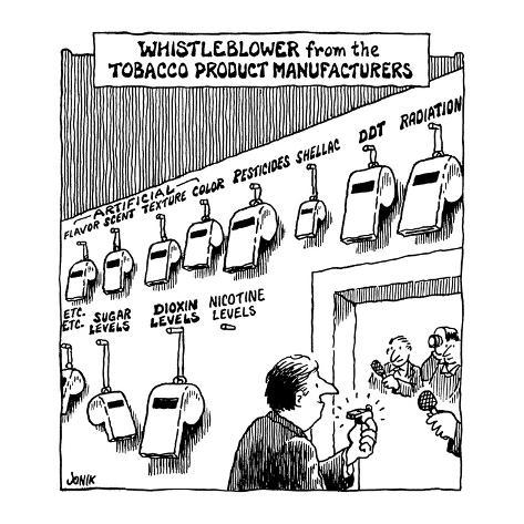 Whistleblower from the Tobacco Product Manufacturers - Cartoon Premium Giclee Print