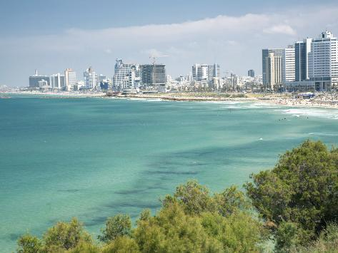 Beach, Skyline and Mediterranean Sea Viewed from Old Jaffa, Tel Aviv, Israel, Middle East Photographic Print