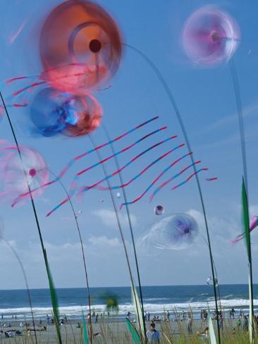 Kites Spinning, Washington State Kite Festival, Long Beach, Washington, USA Photographic Print