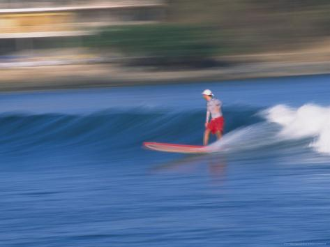 Surfer Rides Waves in the Pacific Ocean, Sayulita, Nayarit, Mexico Photographic Print