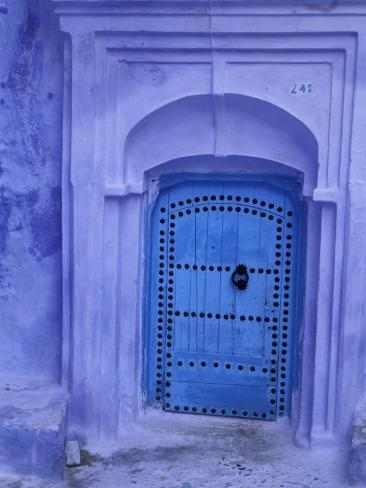 Traditional Moorish-styled Blue Door, Morocco Photographic Print