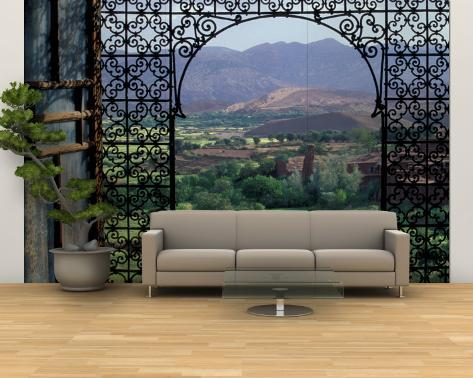 View through Ornate Iron Grille Moucharabieh Morocco Wall Mural