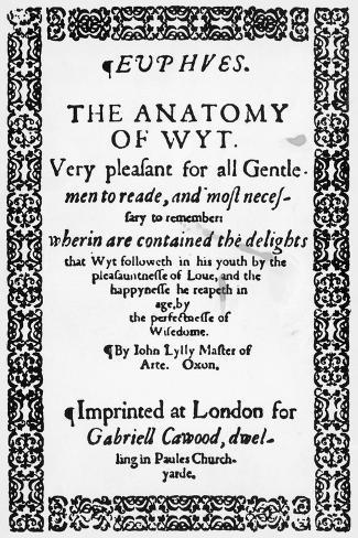 Title Page of Euphues or the Anatomy of Wit Giclee Print by John ...