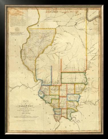 Map of Illinois, c.1820 Framed Giclee Print