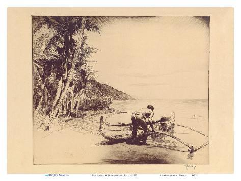 Old Hawaii - Hawaiian in Outrigger Canoe (Wa'a) Stampa artistica