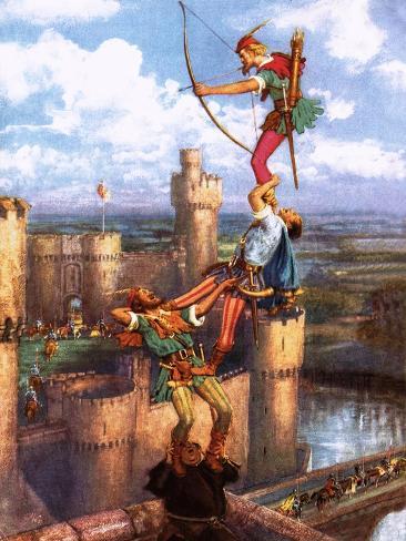 Robin Hood Shooting into Nottingham Castle Giclee Print