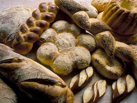 Breads Including Kugelhopfs, Pretzels and Plaited Bread, Alsace, France Photographic Print
