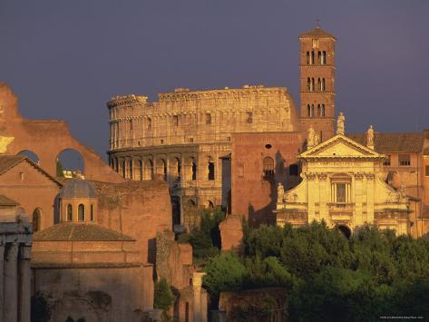 View Across the Roman Forum Towards Colosseum and St. Francesco Romana, Rome, Lazio, Italy, Europe Photographic Print