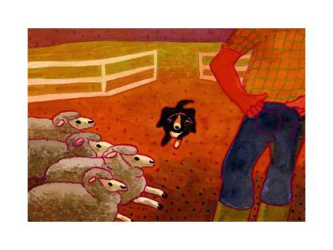 Sheep Dog Trial Giclee Print