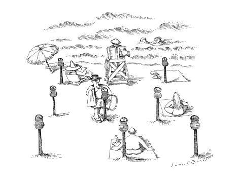 Beach with parking meters for beach blankets. - New Yorker Cartoon Premium Giclee Print