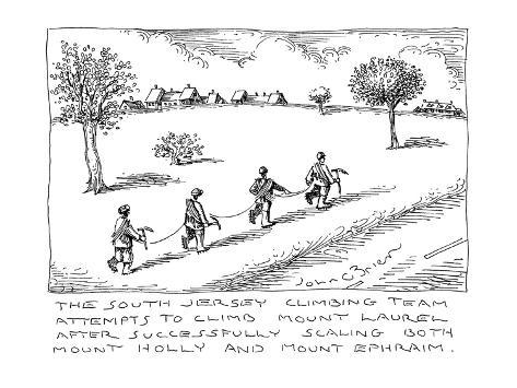 The South Jersey Climbing Team attempts to climb Mount Laurel after succes… - Cartoon Premium Giclee Print