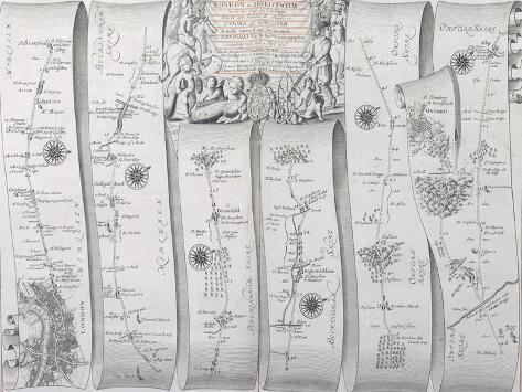 The Road from London to Aberistwith on the Sea Coast, from 'Britannia, Volume the First', 1675 Giclee Print