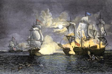 John Paul Jones's Ship, Bon Homme Richard, Defeating the British Serapis, c.1779 Giclee Print