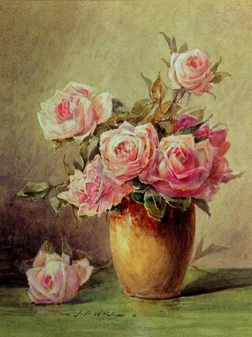 Pink Roses in a Yellow Vase Giclee Print