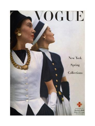 Vogue Cover - March 1946 Premium Giclee Print