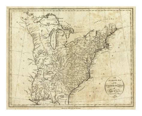 Map of the United States of America, c.1796 Art Print