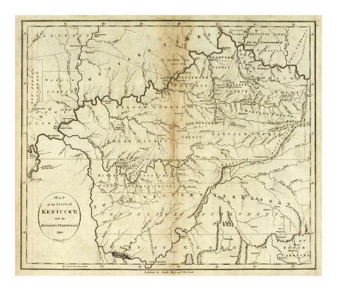 State of Kentucky, c.1796 Art Print