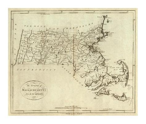 State of Massachusetts, c.1796 Framed Giclee Print