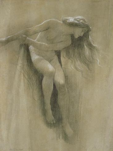 Female Nude Study (Chalk on Paper) Lámina giclée