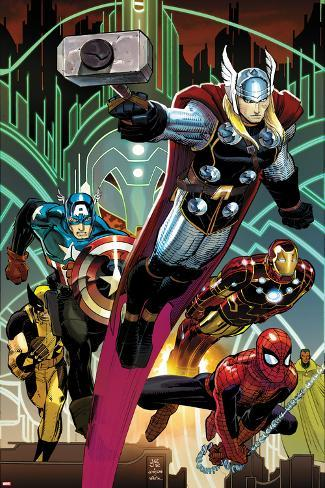 Avengers No.5 Cover: Thor, Captain America, Spider-Man, Iron Man, and Wolverine Flying Poster