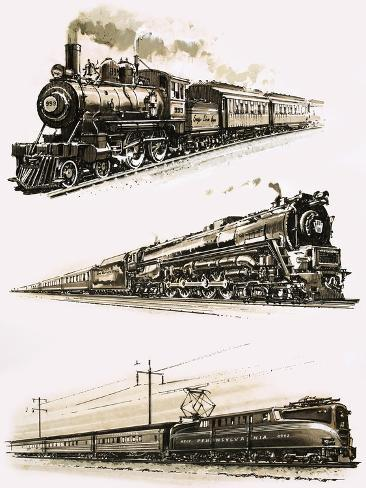 Montage of Us Trains Stampa giclée