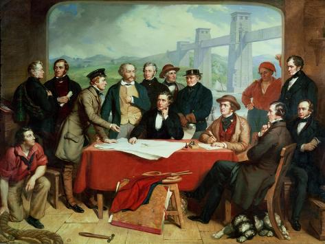Conference of Engineers at Britannia Bridge, circa 1850 Giclee Print