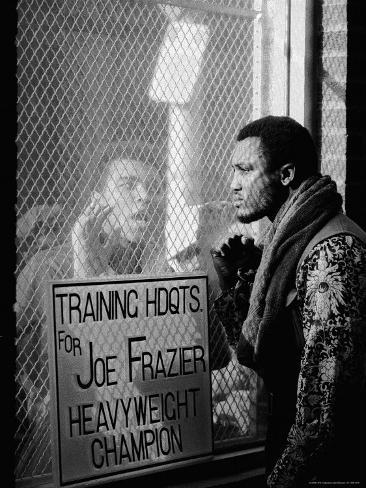 Boxer Muhammad Ali Taunting Boxer Joe Frazier During Training for Their Fight Premium Photographic Print