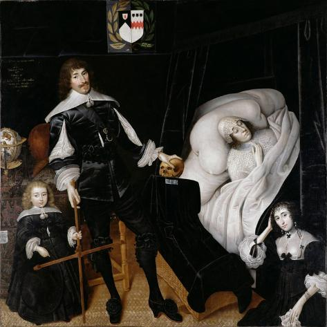 Sir Thomas Aston (1600-45) at the Deathbed of His Wife, 1635 Giclee Print