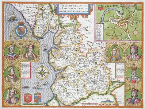 Lancashire in 1610, from John Speed's 'Theatre of the Empire of Great Britaine', First Edition Giclee Print