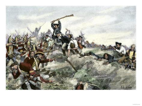 John Stark Leading a Charge of New Hampshire Militia at the Battle of Bennington, Vermont, c.1777 Giclee Print
