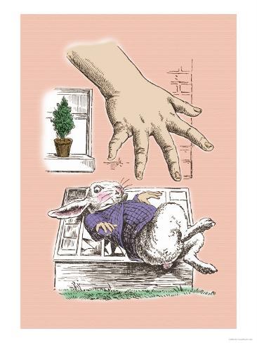 Alice in Wonderland: The White Rabbit and Alice's Big Hand Lámina