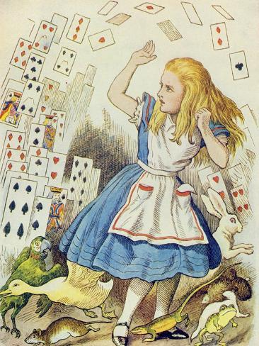 The Shower of Cards, Illustration from Alice in Wonderland by Lewis Carroll Stampa giclée