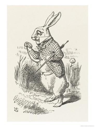 The White Rabbit Checks His Watch Impressão giclée