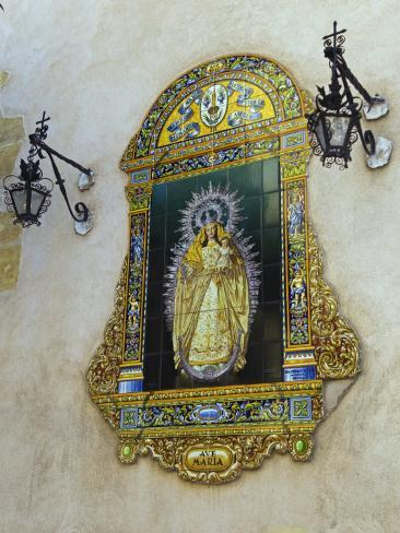 Tiled Picture of Mary and Jesus on a Street in Seville, Spain Photographic Print