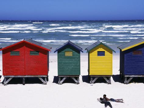 Victorian-Style Bathing Boxes on the Beach, Western Cape, South Africa Photographic Print