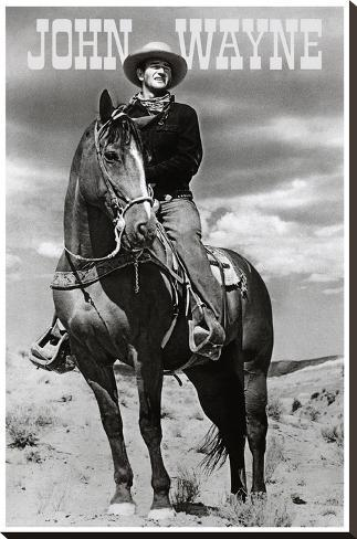 John Wayne (On Horse) Movie Poster Print Impressão em tela esticada