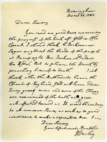 Letter from John Wesley to Samuel Bradburn, 25th March 1783 Lámina giclée