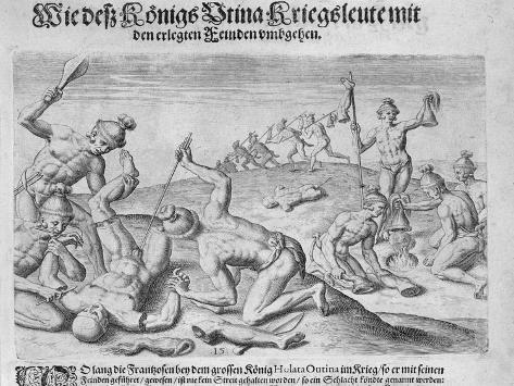 Cannibalism, Engraved by Theodor De Bry Lámina giclée