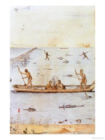 Indians Fishing Giclee Print