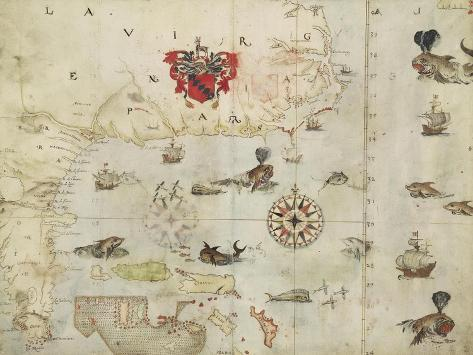 La Virgenia Pars: a Map of the East Coast of N. America Giclee Print