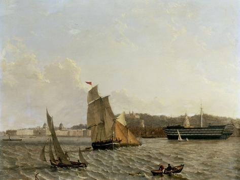 Greenwich from across the River with Hospital, the Observatory and the Hospital Ship 'Dreadnought' Giclee Print