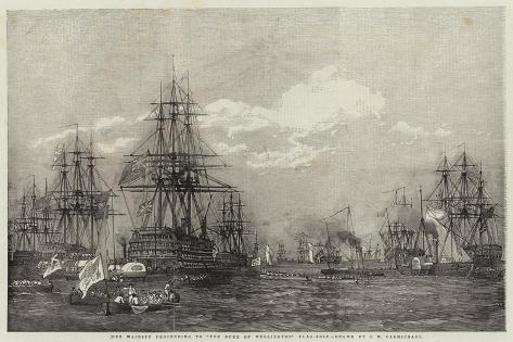 Her Majesty Proceeding to The Duke of Wellington Flag-Ship Lámina giclée